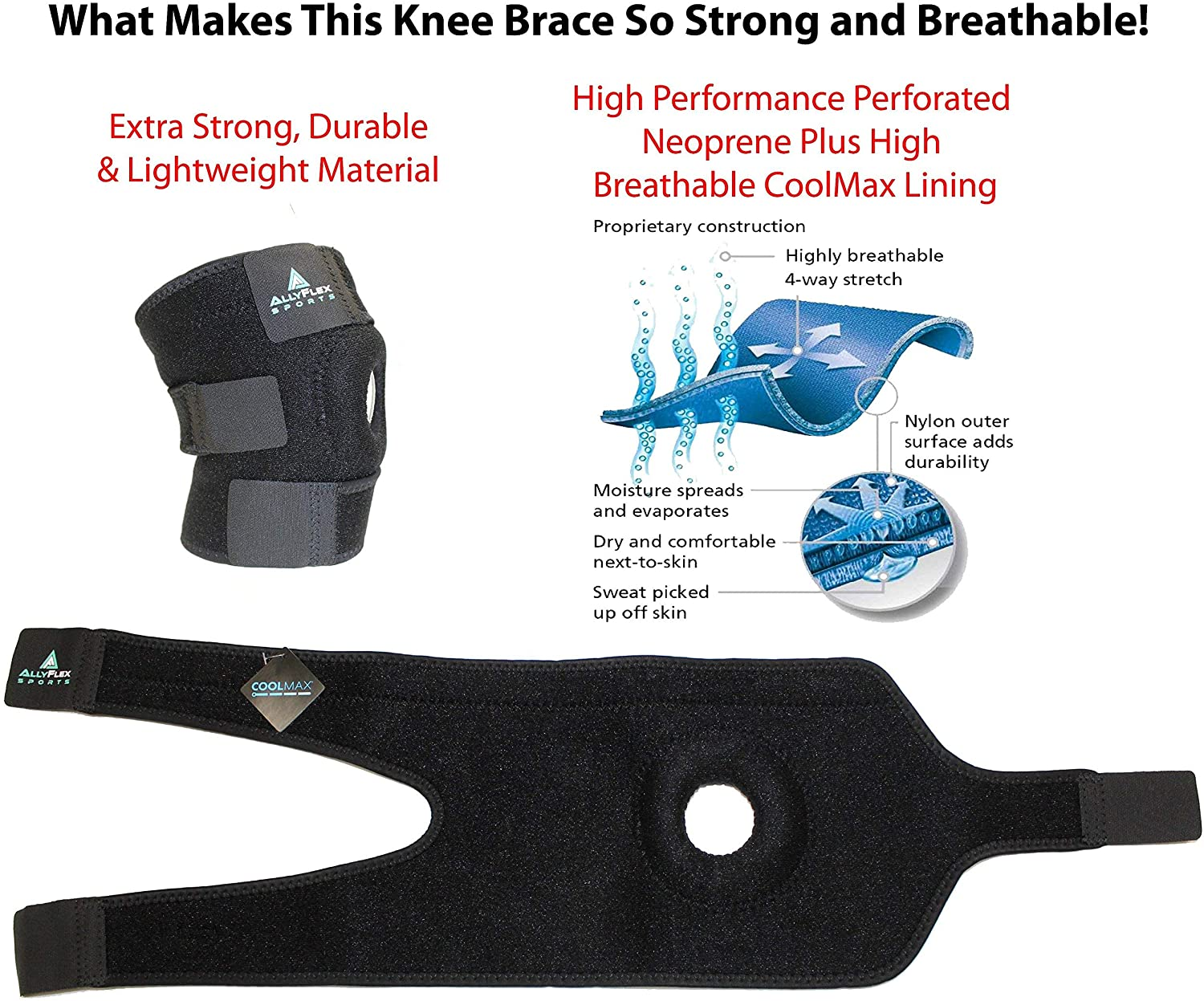 AllyFlex Sports® Knee Brace Open Patella Stabilizer | Cooling & Moisture-Wicking, Breathable Materials for Comfort | NeoAllySports.com
